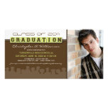 Classy Brown/Lime Graduation Announcement Photo Cards