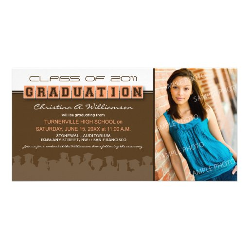 Classy Brown/Peach Graduation Announcement Customized Photo Card