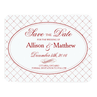 Classy Burgundy Check Pattern Save the Date 11 Cm X 14 Cm Invitation Card