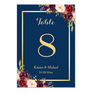 Classy Burgundy Floral Gold Navy Blue Table Number Card