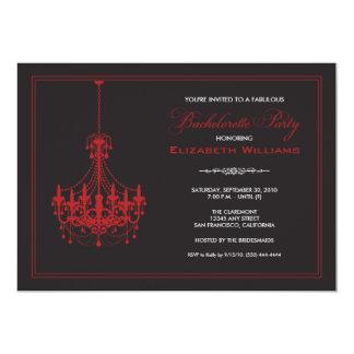 Classy Chandelier Bachelorette Invitation (red)