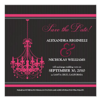 Classy Chandelier Save the Date (black/pink) Custom Invitation