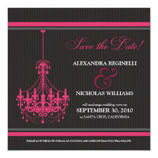 Classy Chandelier Save the Date (black/pink) 5.25x5.25 Square Paper Invitation Card