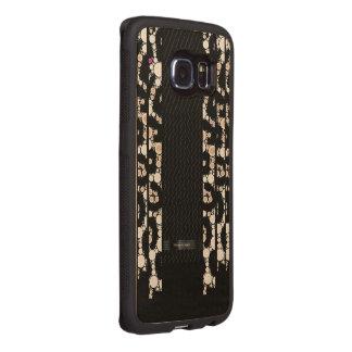 Classy Cheetah Black Pattern Wood Phone Case