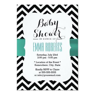 Classy Chevron Stripes Teal Ribbon Baby Shower 13 Cm X 18 Cm Invitation Card