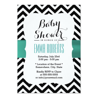 Classy Chevron Stripes Teal Ribbon Baby Shower Card