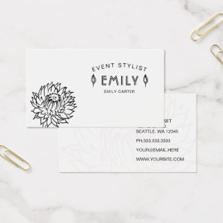 Classy Chic Black and White floral Business Card