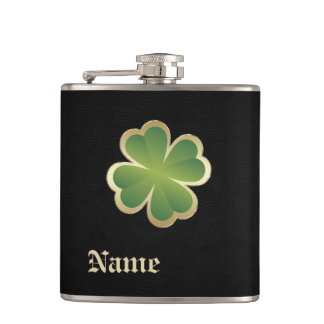 Classy chic golden lucky shamrock leather look flasks