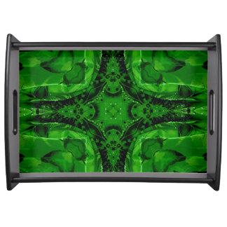 Classy Chic Green Black Artistic Pattern Serving Tray