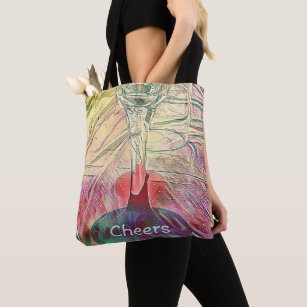 Classy Chic Yellow Rose Champagne Flute Tote Bag