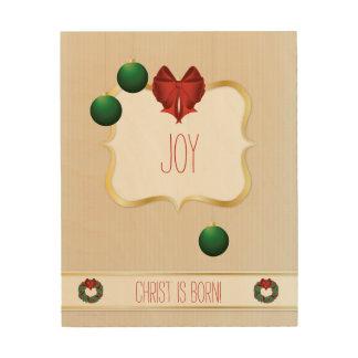 Classy Christmas Wreath - Joy Wood Print
