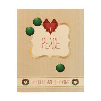 Classy Christmas Wreath - Peace Wood Prints