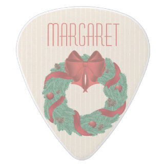 Classy Christmas Wreath White Delrin Guitar Pick