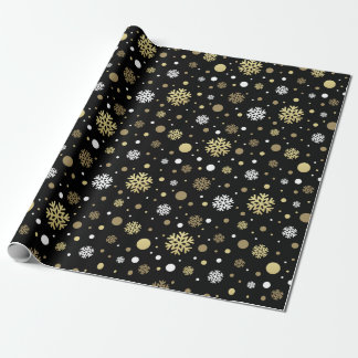 Classy Cool Gold White Christmas Snowflakes Black