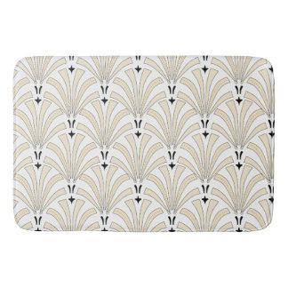 Classy Cream & White Palmettos Art Deco Pattern Bath Mat