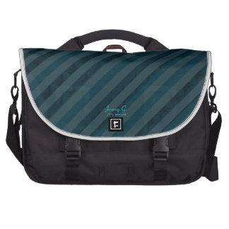 Classy Custom Dark Aqua & Navy Blue - Stripes Commuter Bags