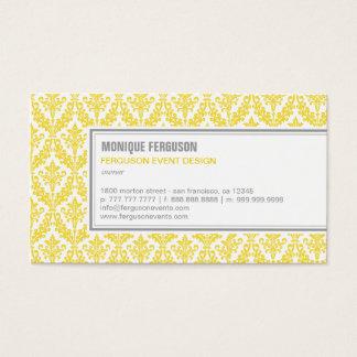 Classy Damask Business Card - Lemon