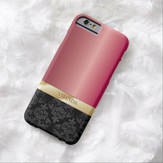 Classy Damask Gold Striped Coral Pink Metallic Barely There iPhone 6 Case