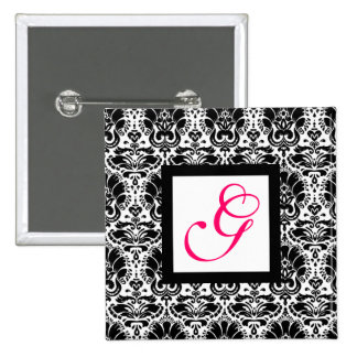 CLASSY DAMASK MONOGRAM,pink fuchsia 15 Cm Square Badge