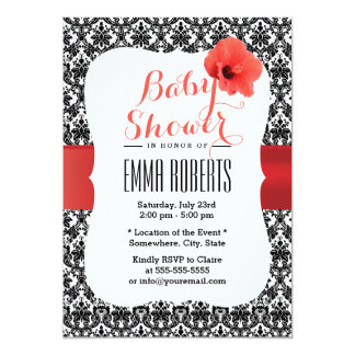 Classy Damask Red Hibiscus Baby Shower Invitations