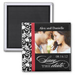 Classy Damask Save the Date with Red Accent Square Magnet