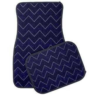 Classy Dark Blue Chevron Stripes Car Mat