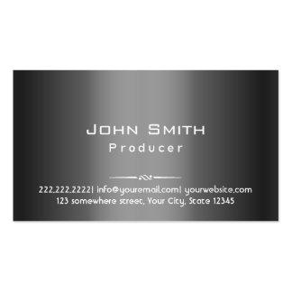Classy Dark Grey Metal Producer Business Card