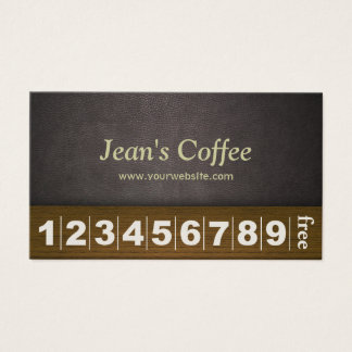 Classy Dark Leather Coffee Business Loyalty Card