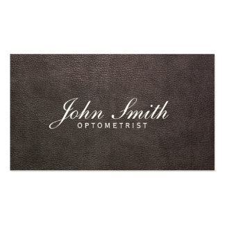 Classy Dark Leather Optometrist Business Card