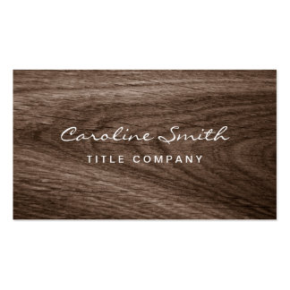 Classy dark oak wood grain professional profile business card