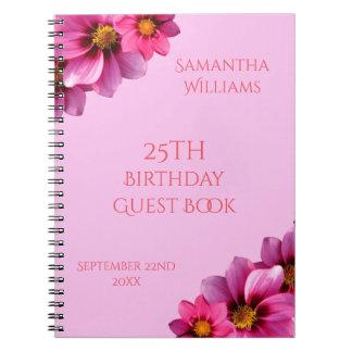 Classy Decorative Corner Dahlias 25th Guest Book