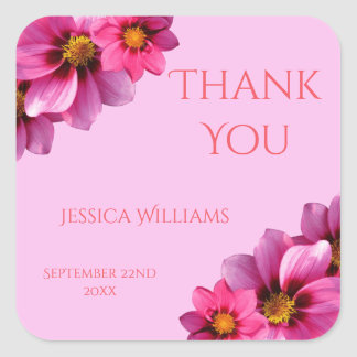 Classy Decorative Corner Dahlias Thank You Square Sticker