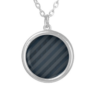 Classy Deep Navy Blue & Gray - Stripes Silver Plated Necklace