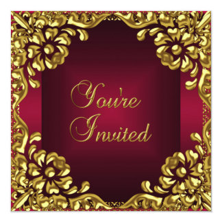 Classy Design Party Invite Gold Burgundy Red