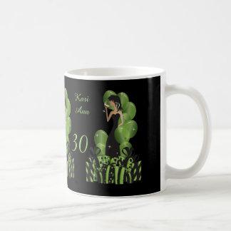 Classy Diva Birthday or Bachelorette Girl   Green Basic White Mug