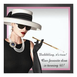 Classy Diva Pink and Black 40th Birthday 13 Cm X 13 Cm Square Invitation Card