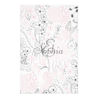 Classy doodles hand drawn floral artwork stationery
