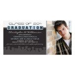 Classy Ebony/Blue Graduation Announcement