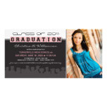 Classy Ebony/Pink Graduation Announcement Personalised Photo Card