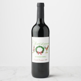 Classy elegant Christmas JOY typography script Wine Label