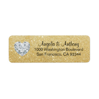 Classy Elegant Glitter GOLD Wedding Return Address Return Address Label
