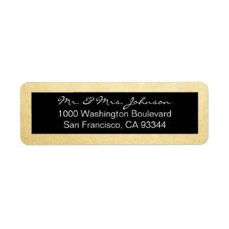Classy Elegant Gold Foil & Black Return Address Return Address Label