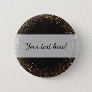 Classy, Elegant Golden Confetti on Black with Name 6 Cm Round Badge