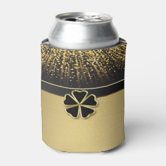Classy Elegant Irish Shamrock ,Faux Gold Confetti Can Cooler