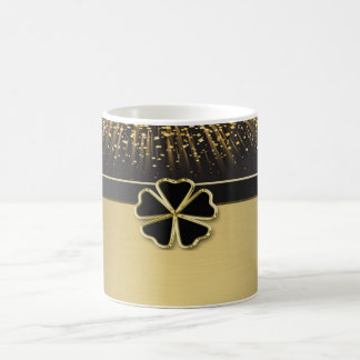 Classy Elegant Irish Shamrock ,Faux Gold Confetti Coffee Mug
