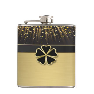 Classy Elegant Irish Shamrock ,Faux Gold Confetti Hip Flask
