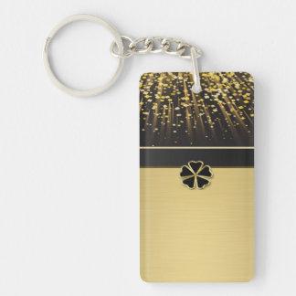 Classy Elegant Irish Shamrock ,Faux Gold Confetti Key Ring