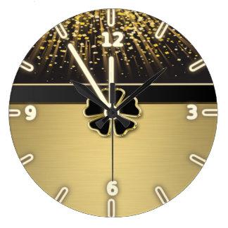 Classy Elegant Irish Shamrock ,Faux Gold Confetti Large Clock