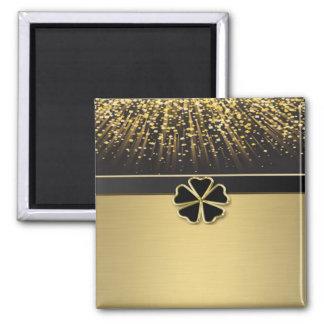 Classy Elegant Irish Shamrock ,Faux Gold Confetti Magnet
