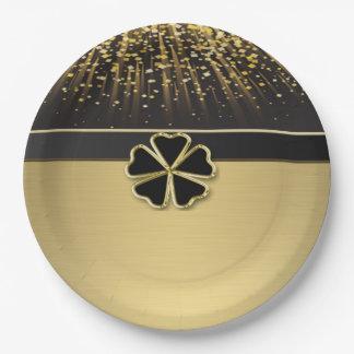 Classy Elegant Irish Shamrock ,Faux Gold Confetti Paper Plate